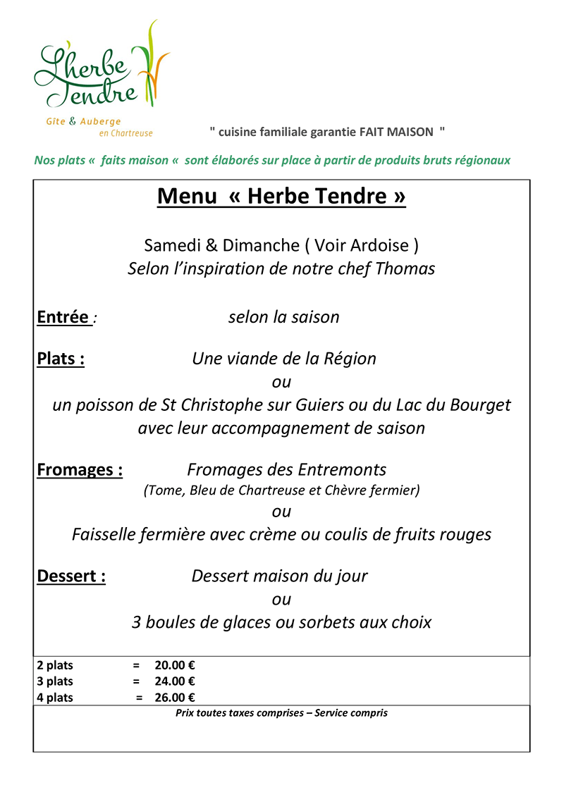 Menu Herbe Tendre - Herbe Tendre